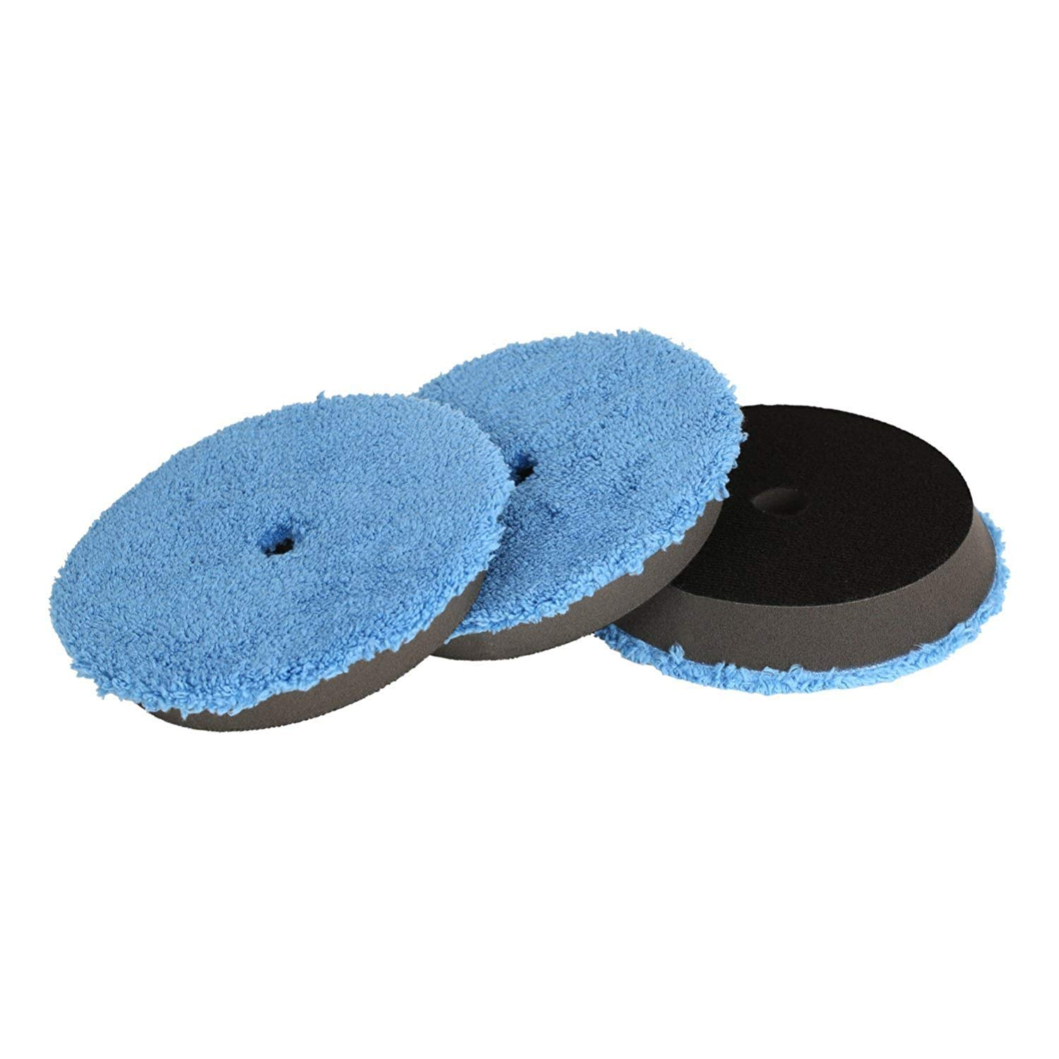 SPTA Microfiber Fast Finishing Pad 3 Pcs 6 inch (150 mm) Polishing Pads, Buffing Compound Pads Kits for 5 Inch (125mm) DA/RO Car Polisher