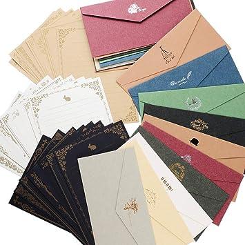 Amazon レターセット 封筒 20枚 便箋 24枚 シール50枚付き シンプル