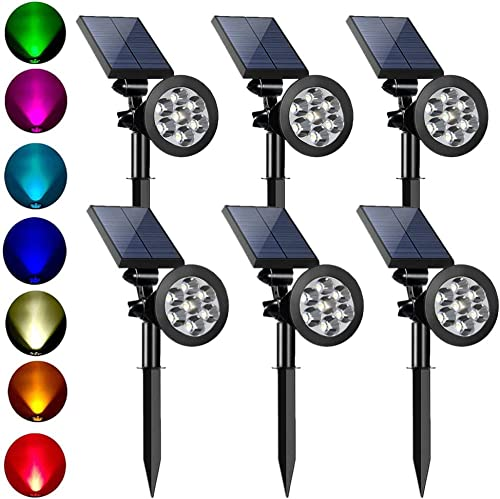MEIHONG Colored Solar Spotlight, 7 LED Adjustable Solar Landscape Lighting, Waterproof Wall Light Solar Lights Outdoor with Auto On Off for Garden Decorations Changing Color Fixed Color 6 Pack
