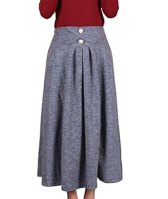 128fc565c6 Femirah Women's Winter Cashmere Wool Long Maxi Skirt - Grey ...