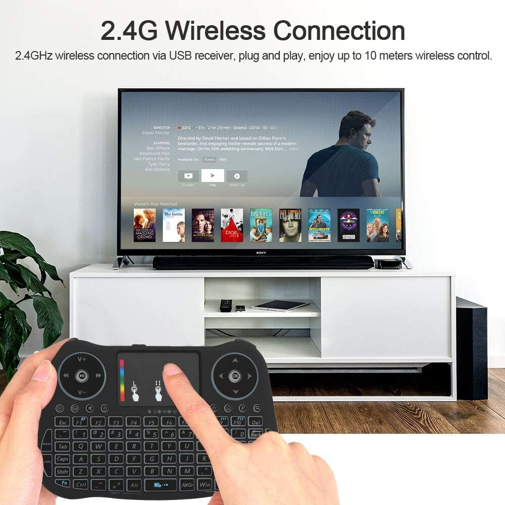 Calvas 2.4GHz Wireless Keyboard Touchpad Mouse Handheld Remote Control 4 Colors Backlight Colorful Lights For Android TV BOX Smart TV