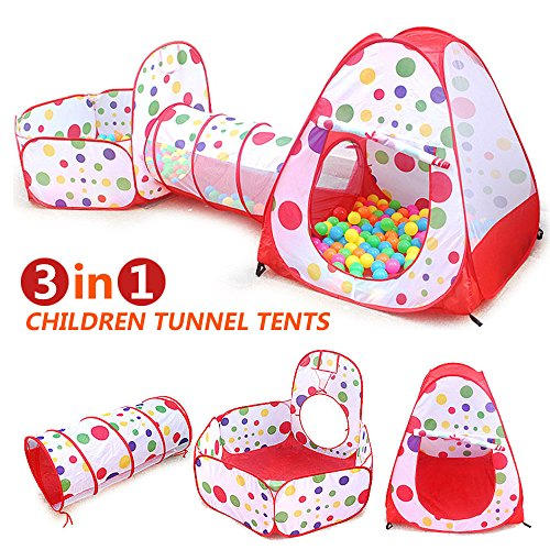 Kids Play Tent 3-In-1, Tunnel-Ball Pit with Basketball Hoop Indoor and Outdoor Easy Folding Children's Playground Toy Playpen with Tote Bag for Kids Great Fun