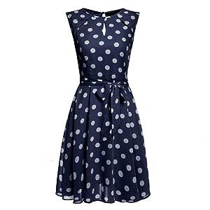 LI'L BLACK DRESS Women Polka Dots Chiffon Flare Slim Cocktail Party Dress W/ Belt (small, blue)