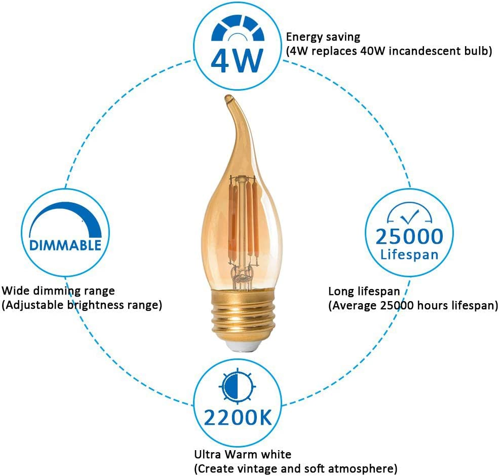 Vintage Classic Edison style Gold Tint Flame Tip E26 Base Amber Glass Light bulbs Ultra Warm White 2200K Pack of 3 40W Equivalent Panledo LED Filament Candelabra Bulb 4W Dimmable