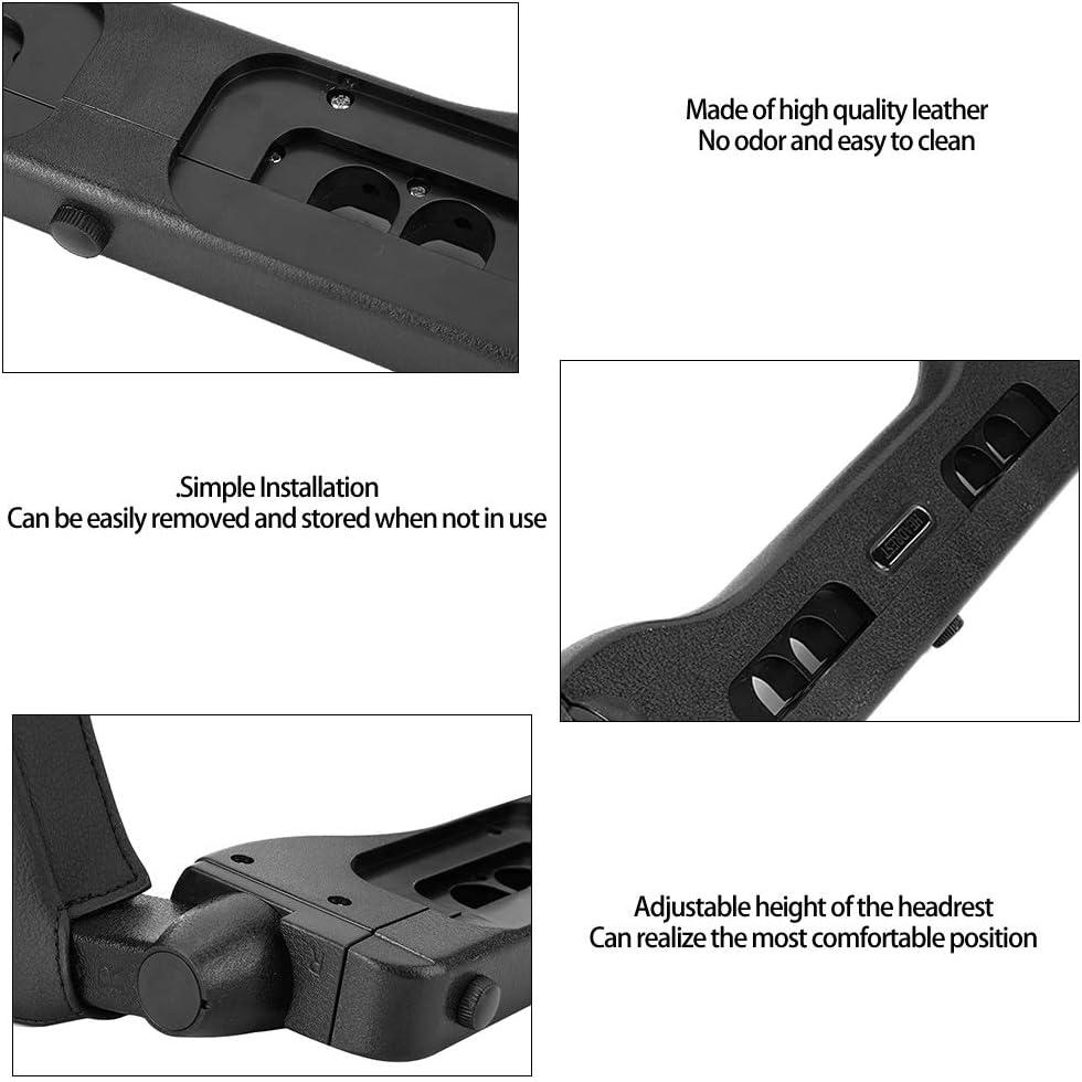 Car Headrest Pillow Universal Car Headrest Head Prop Support Pillow Leather Cushion Seat Sleeping Accessory Color : Black