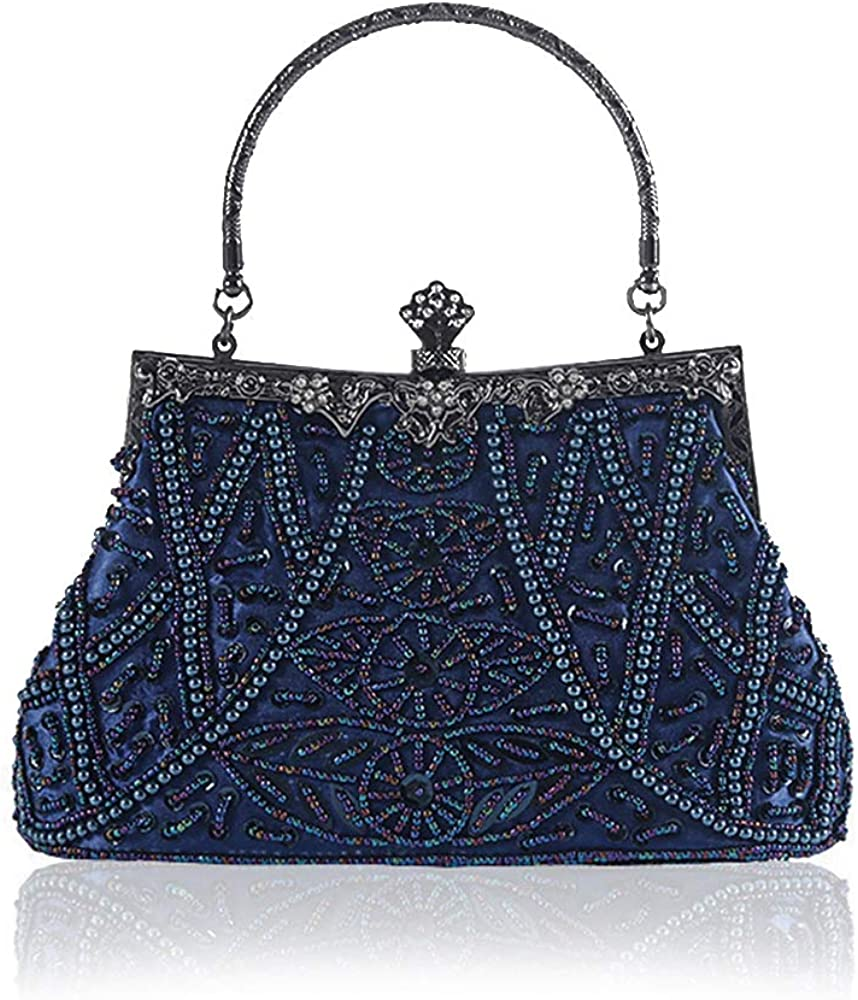 YEEBOM Vintage Beaded and Sequined Evening Bag for Women Formal Wedding Party Clutch Purse