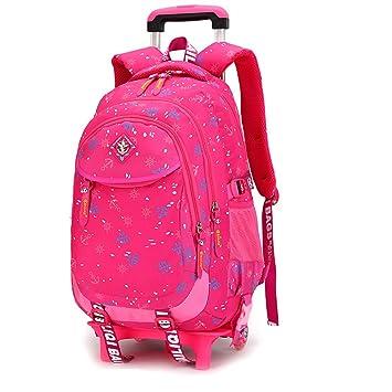 Amazon Com Girls Rolling Backpack Kids Hand Trolley School Bag