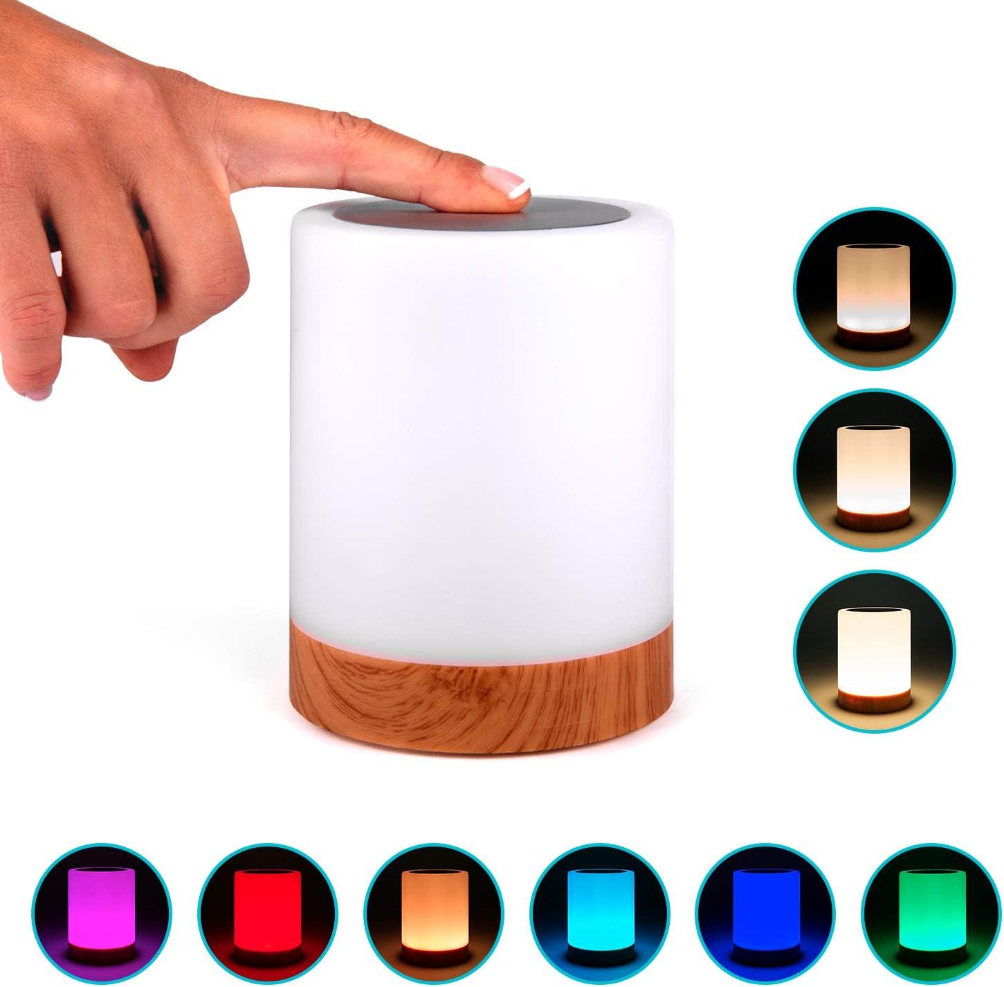 Lampara decorativa tactil con luz LED de colores para mesa ...