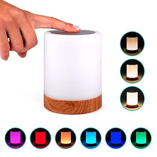 Lampara decorativa tactil con luz LED de colores para mesa, sobremesa o mesilla de noche | Lamparita RGB pequeña y recargable, de diseño moderno para ...