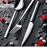 Olinda 18/10 Stainless Steel Hammered Heavy Weight Flatware Set 20 pcs Made in Europe Silverware set, Service for 4 (BOSPHORUS)
