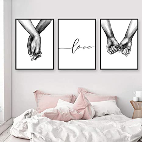 Nordic Ideas Set De 3 Affiches Noir Et Blanc Tenant Par La Main Et Citation Amour Murale Chambre Tableaux Décoration Peinture Sur Toile Poster Deco