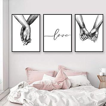 Nordic Ideas Set de 3 Affiches Noir et Blanc Tenant par la Main et Citation  Amour Murale Chambre Tableaux Décoration Peinture sur Toile Poster Deco ...