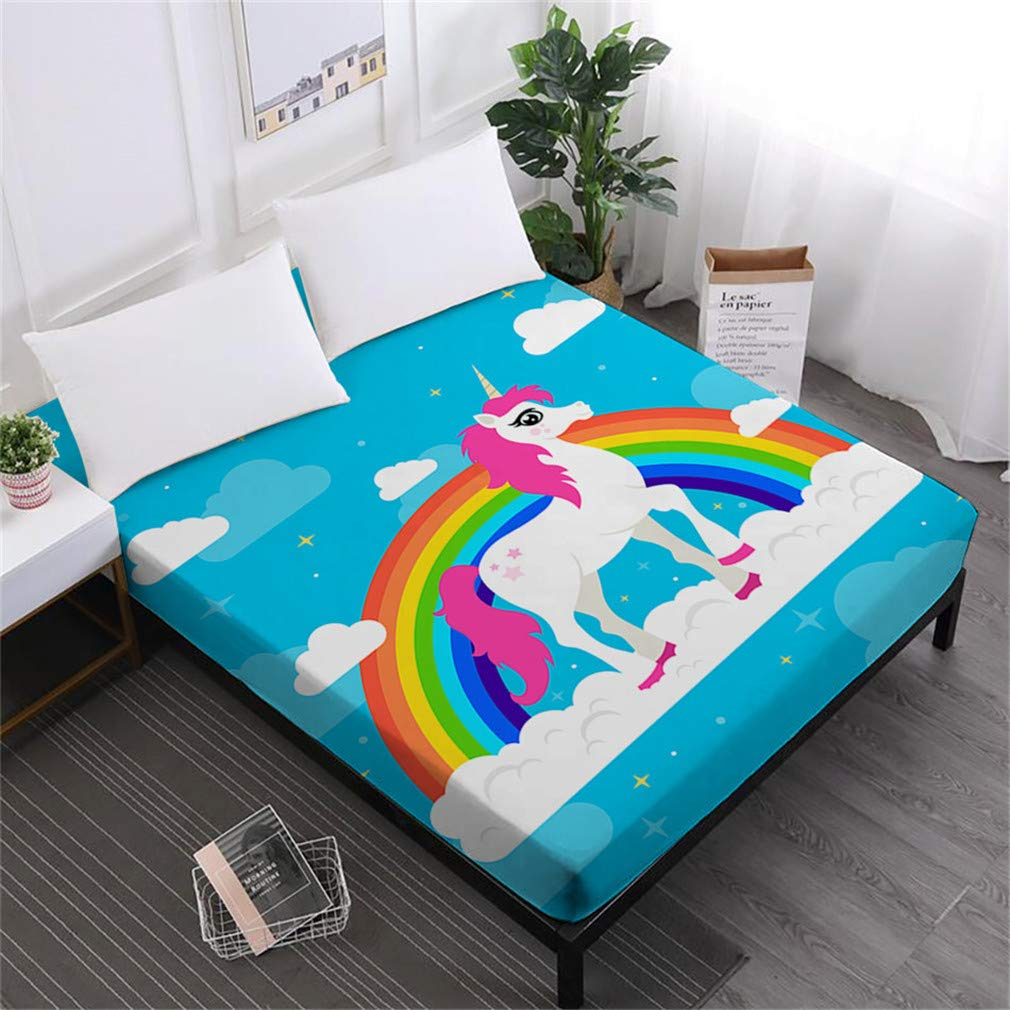 Unicorn Series Bed Sheets Cute Cartoon Print Fitted Sheet Girls Kids Sweet Sheets 100% Polyester Mattress Cover Home Decor DCL-AS51 Queen