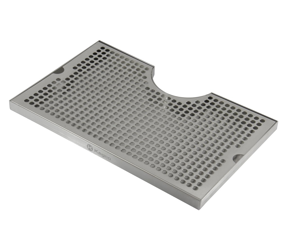 Kegco SECO-1610 16'' x 10'' Surface Mount Drip Tray - 3'' Column Cut-Out - SS, No Drain