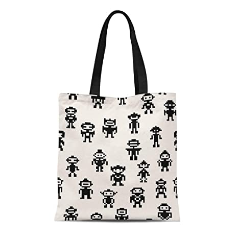a5f90ac7f49d Amazon.com: Semtomn Cotton Canvas Tote Bag Invader Pixel Robots ...