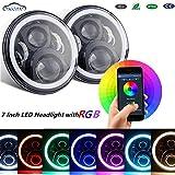 SXMA 7 inch LED RGB Round Headlight with DRL Headlamp Angel Eye Halo Ring Bluetooth Controlled for Jeep Wrangler LJ CJ JK(RGB223)