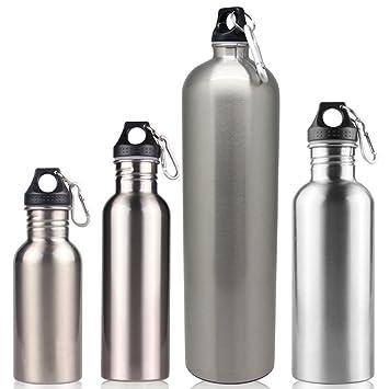 Botellas de acero inoxidable Zantec (500 ml/750 ml/1 l/1,8 l), de una sola capa, para actividades en exteriores