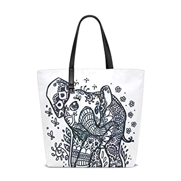 96dca1172324 Amazon.com : Drawn Elephant Baby Tote Bag Purse Handbag Womens Gym ...