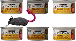 Purina Pro Plan Prime Plus Senior Wet Cat Food Entree 3 Flavor Sampler 6 Can with Catnip Mouse Bundle, (2) Each: Salmon Tuna, Turkey Giblets, Chicken Beef (3 Ounces)