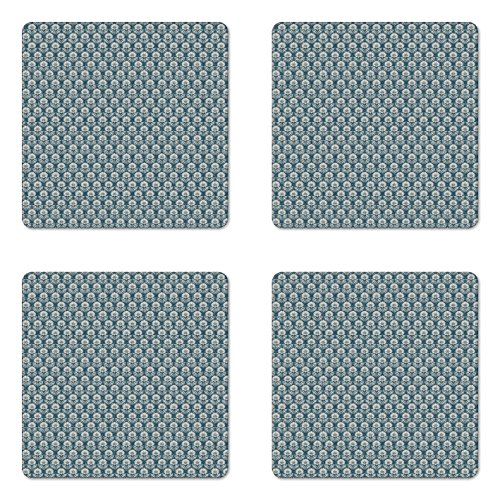Square Coasters Botanic Garden - Lunarable Retro Coaster Set of Four, Antique Blooming Flowers Botanic Garden Art Composition with Grunge Effect, Square Hardboard Gloss Coasters for Drinks, Petrol Blue and Ivory