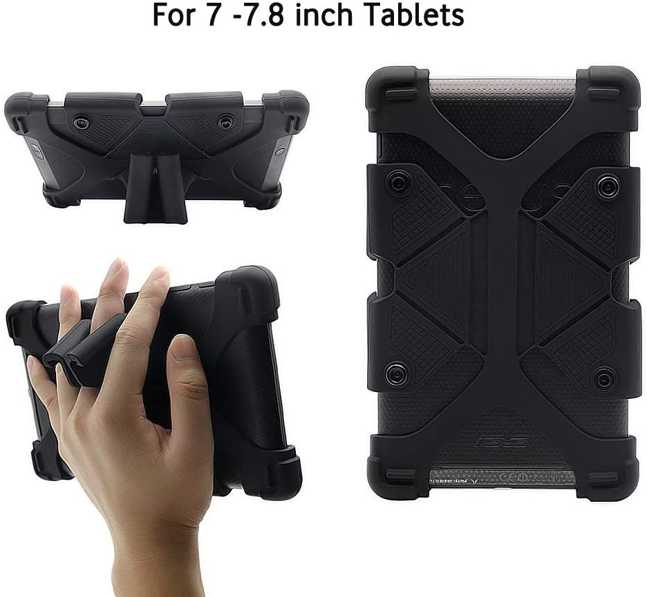 "CHINFAI Universal 7 inch Tablet Case Shockproof Silicone Stand Cover for All Versions RCA Voyager Vankyo Yuntab Samsung Google Nexus MatrixPad Z1 Huawei 7"" Android Tablet and More, Black"