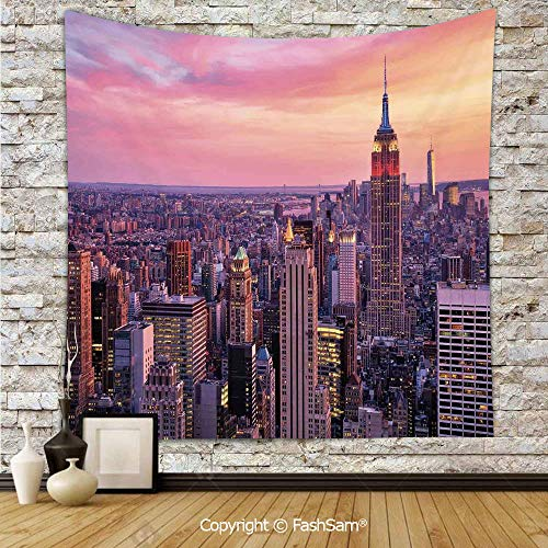 (FashSam Tapestry Wall Blanket Wall Decor New York City Midtown with Empire State Building Sunset Business Center Rooftop Photo Home Decorations for)