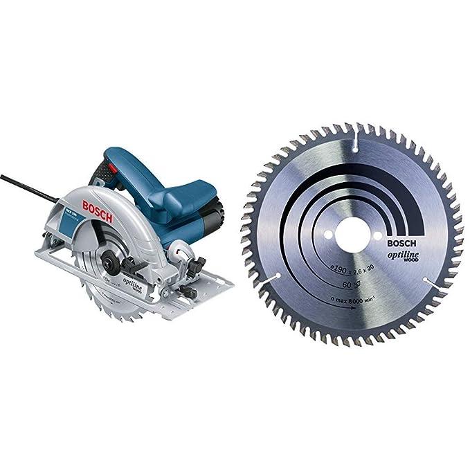 Bosch Professional GKS 190 - Sierra circular, 1400 W, disco 190 mm, en caja & 2 608 641 188 - Hoja de sierra circular Optiline Wood - 190 x 30 x 2,6 mm, 60 (pack de 1): Amazon.es: Bricolaje y herramientas