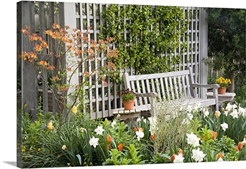 Gallery-Wrapped Canvas entitled Chair in the patio area of a flower garden by Julie Eggers 30''x20'' by greatBIGcanvas