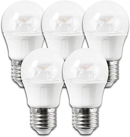 Aigostar - 182809 - pack de 5 bombillas led c5 g45b de 5 watios, casquillo gordo (e27), 330 lumen y luz fria (6400k): Amazon.es: Hogar