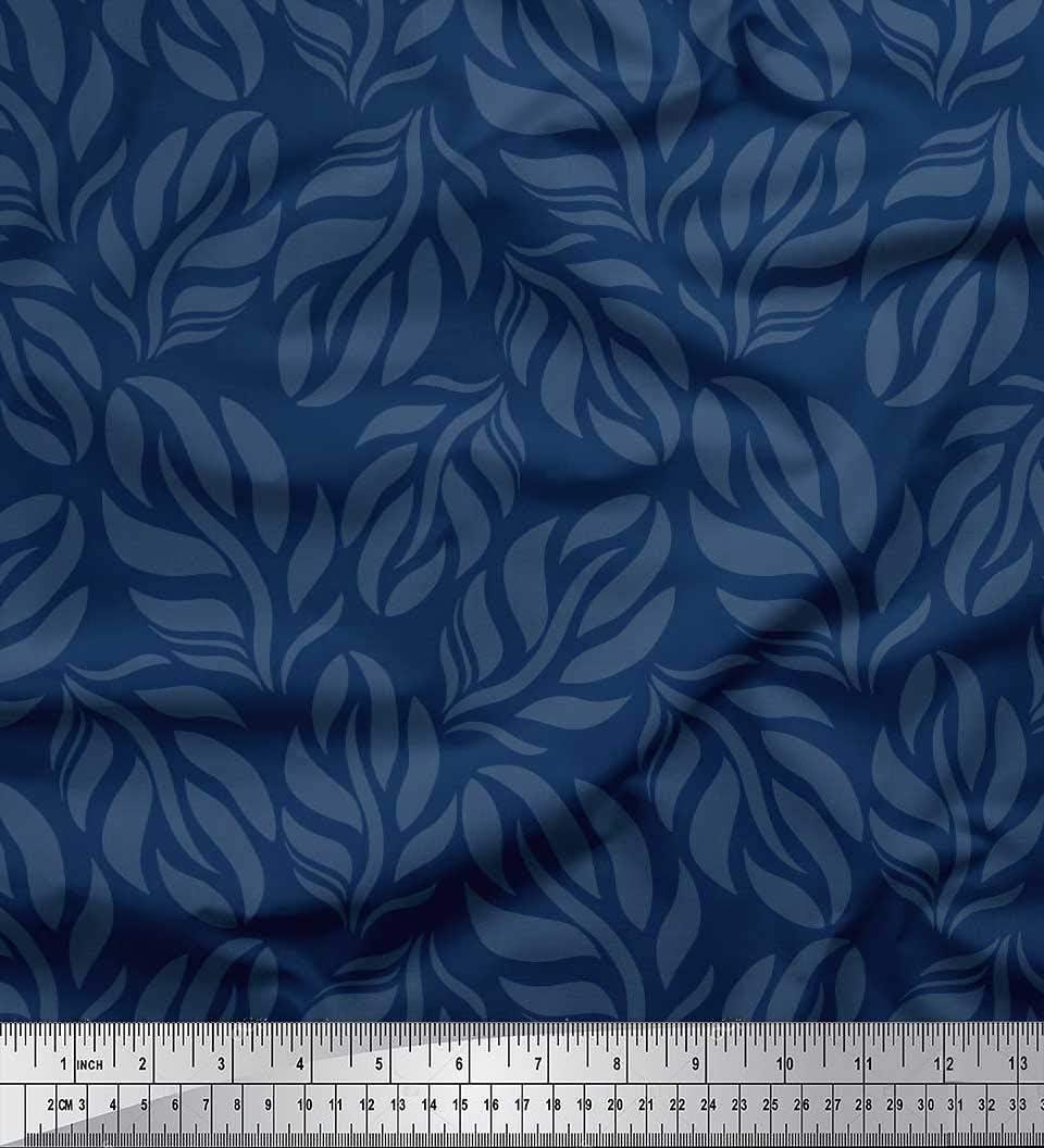 Soimoi Azul Georgette poli Tela Hojas tela de camisa tela estampada de por metro 42 Pulgadas de ancho