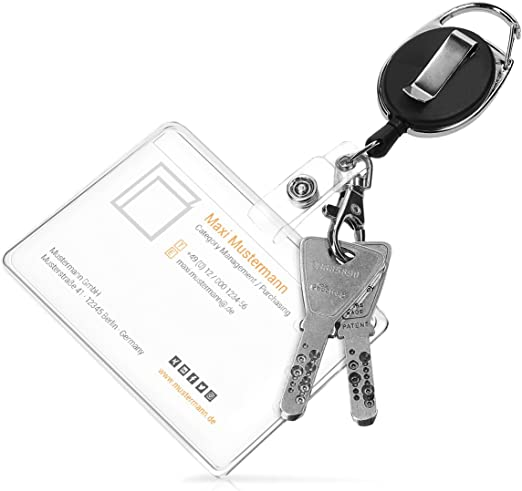 Nero Portabadge Portatessere Badge ID Set 2x Portachiave con Moschettone Cordoncino kwmobile Portachiavi estensibile Yoyo con Clip Cintura
