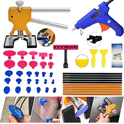 Dent Puller Tools,Gliston Auto Body Dent Repair Kits Paintless Dent Removal Tools - Dent Lifter - Glue Sticks- Glue Gun -Pro Glue Tabs -Mini T bar for Car Auto Body Repair Tool Dent Puller (Best Auto Body Repair)
