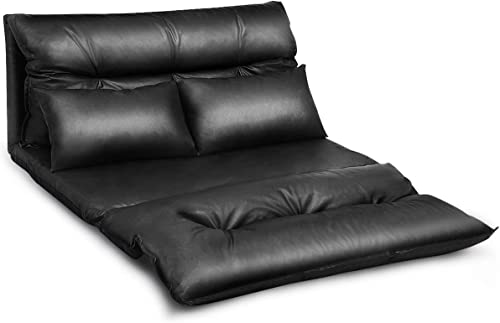 Cheap Giantex Floor Sofa PU Leather Leisure Bed Video Gaming Sofa living room sofa for sale