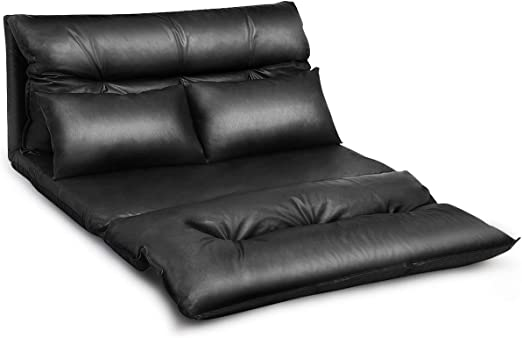 PU Leather Foldable Modern Leisure Floor Sofa Bed Video Gaming 2 Pillows Black