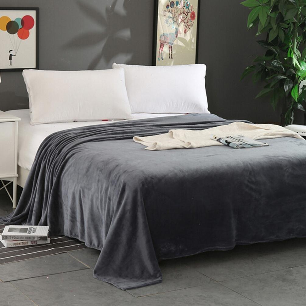 Super Soft Warm Solid Warm Micro Plush Fleece Blanket Throw Rug Sofa Bedding Solid Blanket by Elaco (70100cm, Dark Gray)