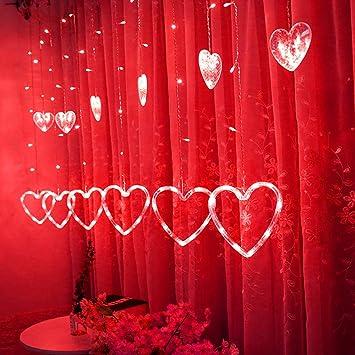 TAOtTAO LED en Forme de Coeur à Suspendre Rideau Filet de Corde de ...