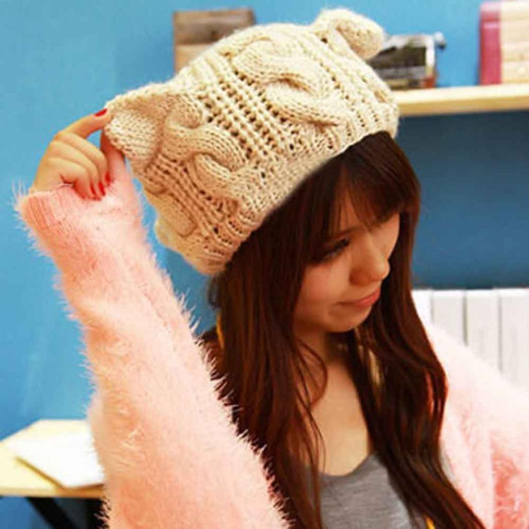 Kfnire Bonnets et Chapeaux Femme Oreilles de Chat Chaudes aux Femmes Chanvre Fleurs Chapeau tricot/é