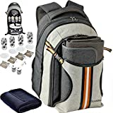 Search : Picnic Backpack - Scuddles 4 Person Set With Insulated Cooler Pouch keeps food Hot/Cold for 12 Hours 2018 Upgraded For Family Outdoor Camping Gatherings