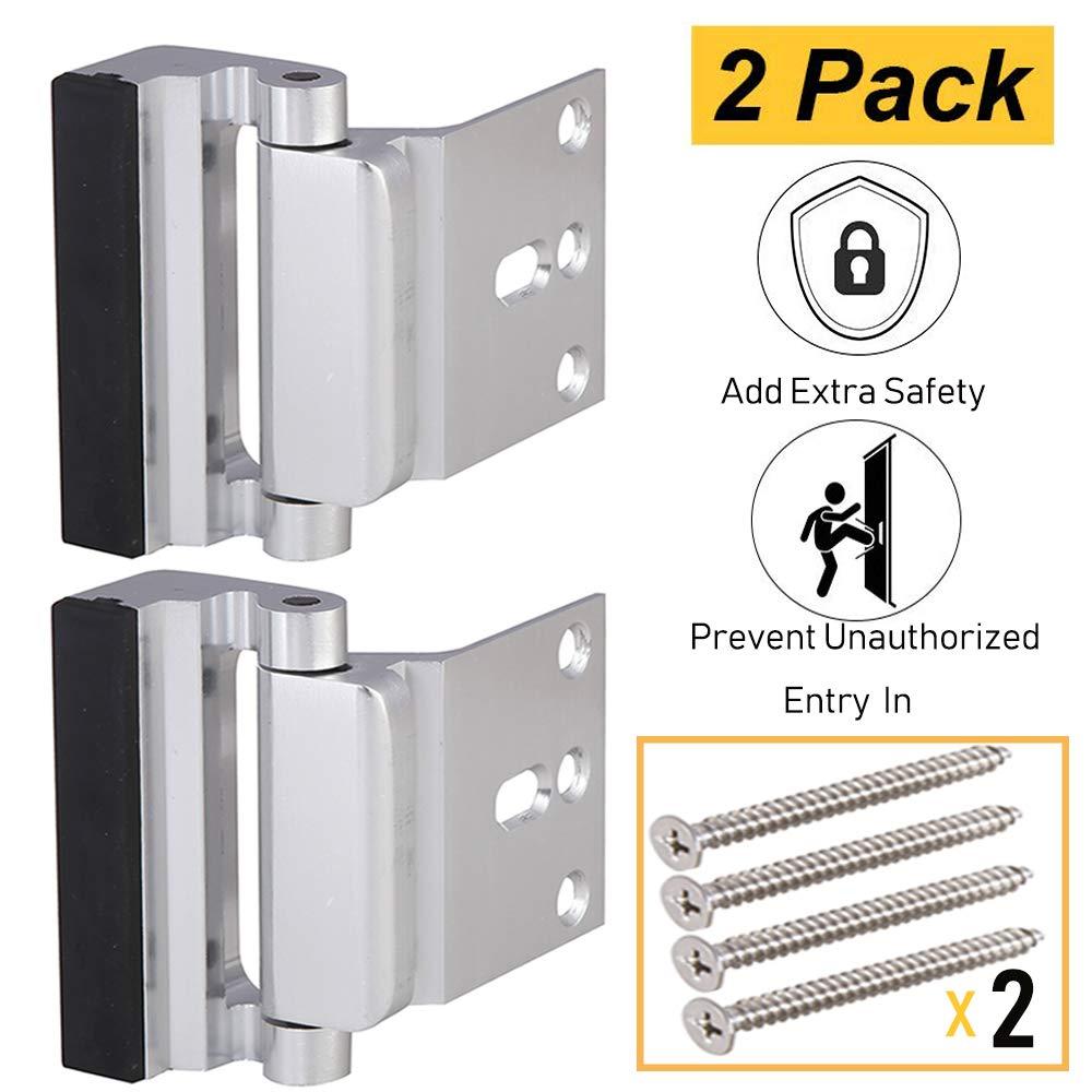 Door Security Lock, Child Proof Door Reinforcement Lock with 2'' Stop 4Screws for Inward Swinging Door, Double Safety Security Protection for Your Home(2PACK)