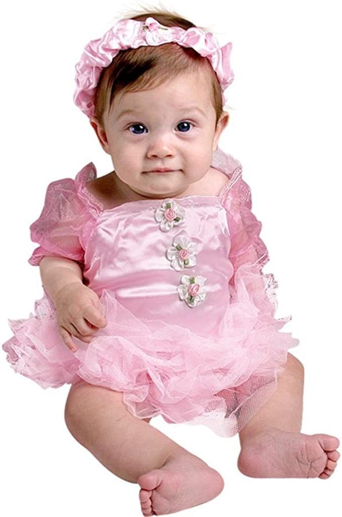 0-3 months Pink Baby Tutu Crochet Ballet Outfit with Matching Ballet Slippers