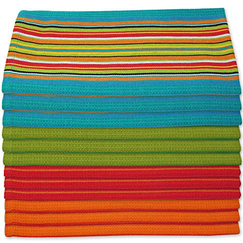Kitchen Dish Towels Salsa Stripe - 100% Natural Absorbent Cotton (Size 28 x 16 inches) Festive Red, Orange, Green and Blue, 12-Pack (Waffle Blue Colored)