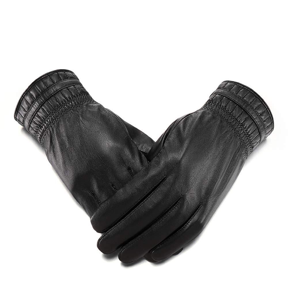 Qzp Schaffellhandschuhe Herren Winter Plus Warme Samt Motorrad Fahren Winddicht Wasserdicht Outdoor Fingerhandschuhe,schwarz-M