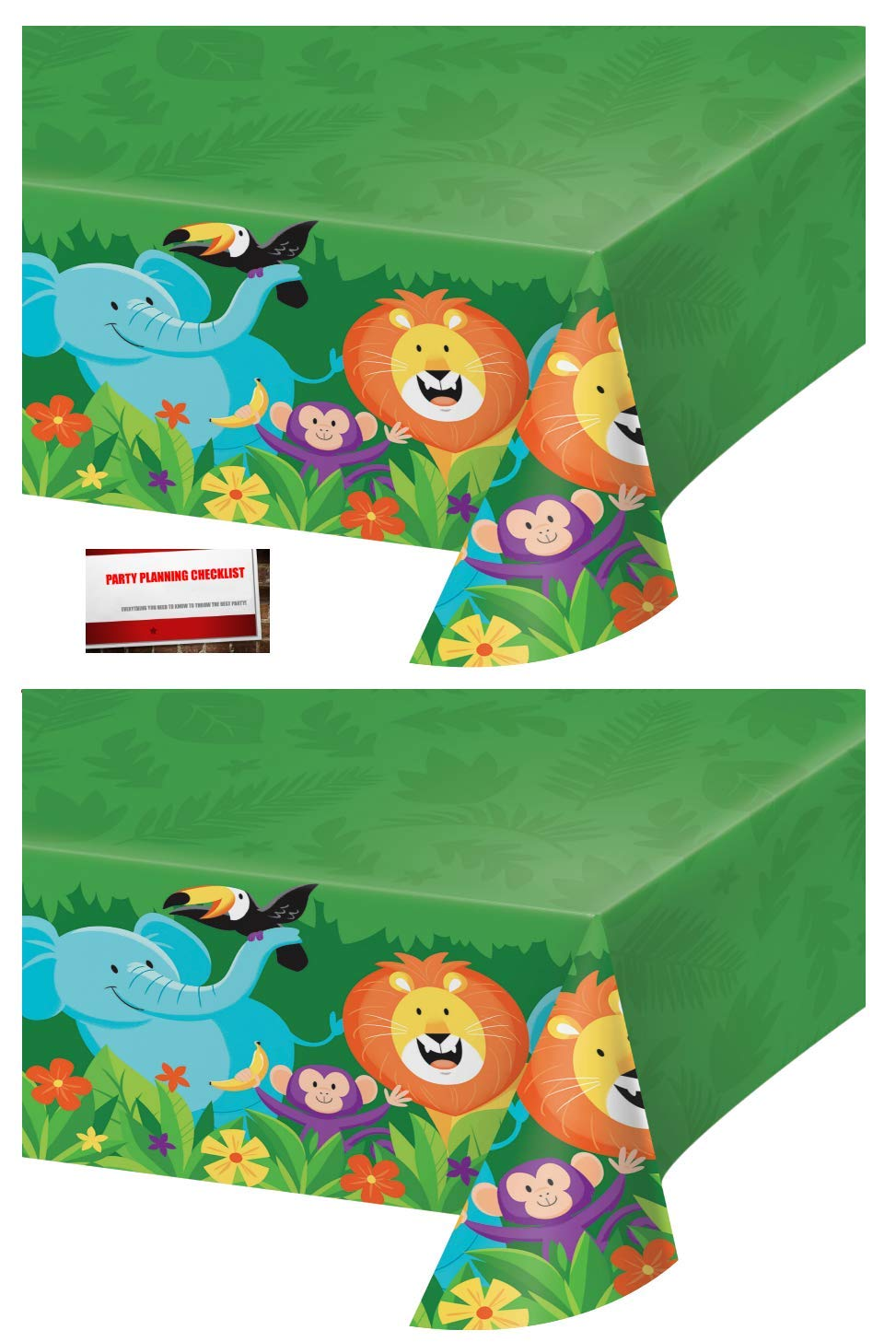 (2 Pack) Jungle Forest Animals Safari Lion Elephant Monkey Birthday Plastic Table Cover 54 X 102 Inches (Plus Party Planning Checklist by Mikes Super Store) by Jungle Safari