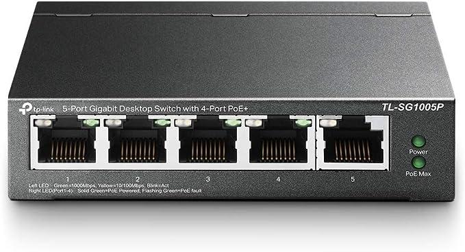 TP-Link 5 Puertos Gigabit PoE Switch | 4 Puertos PoE 56W | 802.3af Obediente |Puertos blindados | Optimización de tráfico | Plug and Play |Fuerte ...