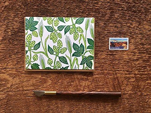 Hops and Barley Pattern, Beer Pattern, Folded Letterpress Note Card, Blank Inside
