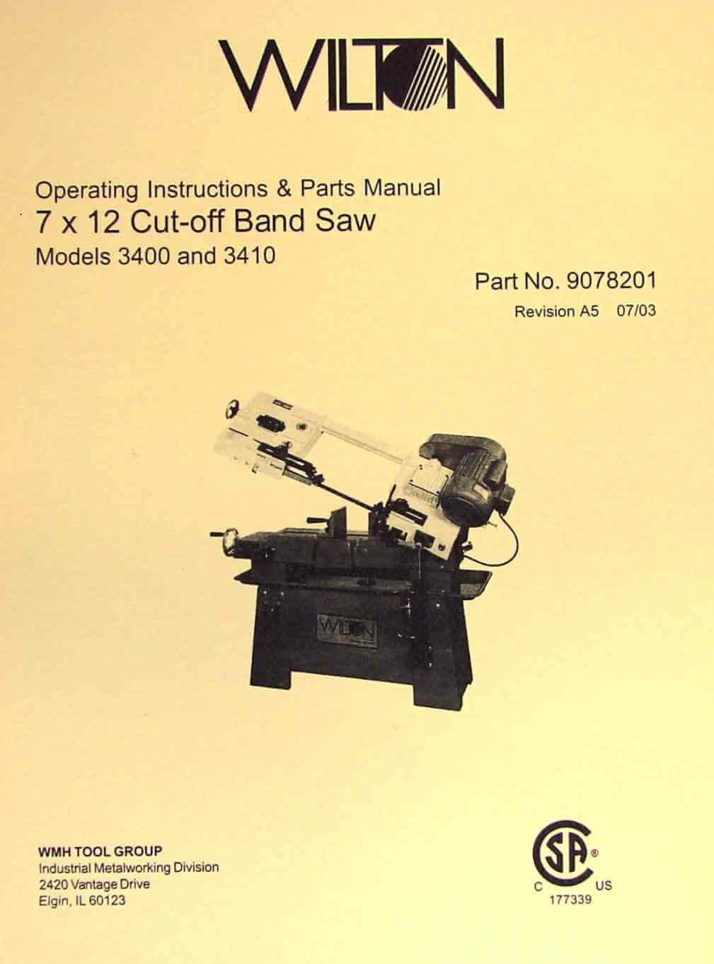 WILTON 3400 and 3410 7x12 Horizontal Band Saw Instructions and Parts Manual:  Misc.: Amazon.com: Books