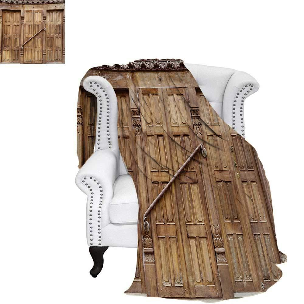 warmfamily 素朴な軽量ブランケット 伝統的なドア ネパール レトロな彫刻 アジアの建築 シャビーシックアートシープリント カスタムデザイン 居心地の良いフランネルブランケット ブラウン 62