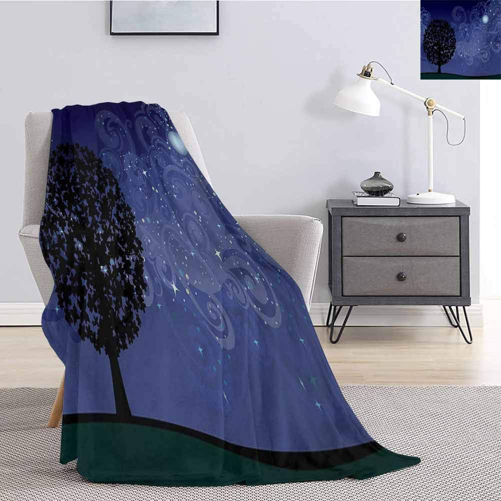 Luoiaax Starry Night Bedding Flannel Blanket Tree on a Hill with Star Filled Sky and Moon Milky Way Galaxy Super Soft and Comfortable Luxury Bed Blanket W70 x L70 Inch Indigo Charcoal Grey Black