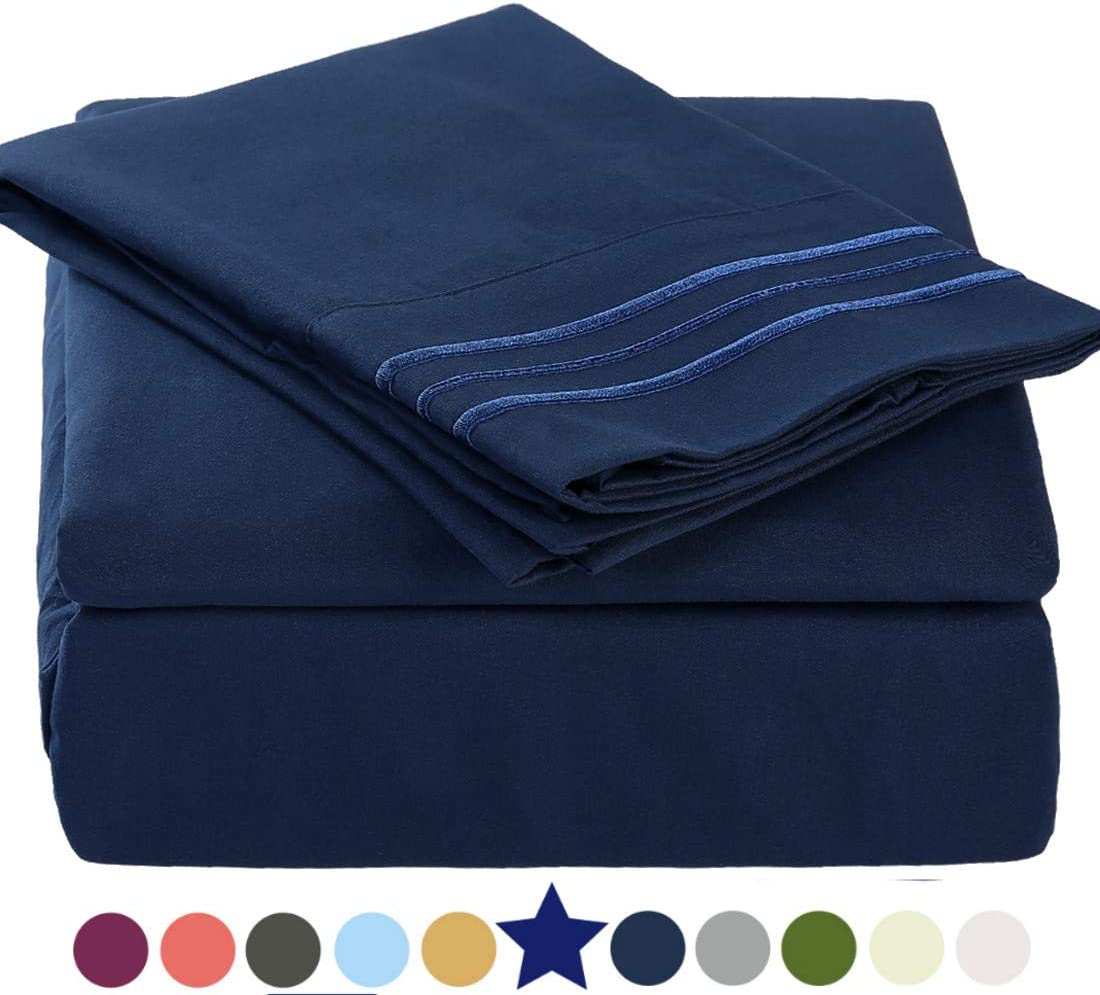 """TEKAMON Premium 4 Piece Bed Sheet Set 1800TC Bedding 100% Microfiber Polyester - Super Soft, Warm, Breathable, Cooling, Wrinkle and Fade Resistant - 10-16"""" Extra Deep Pockets, Full, Navy Blue"""