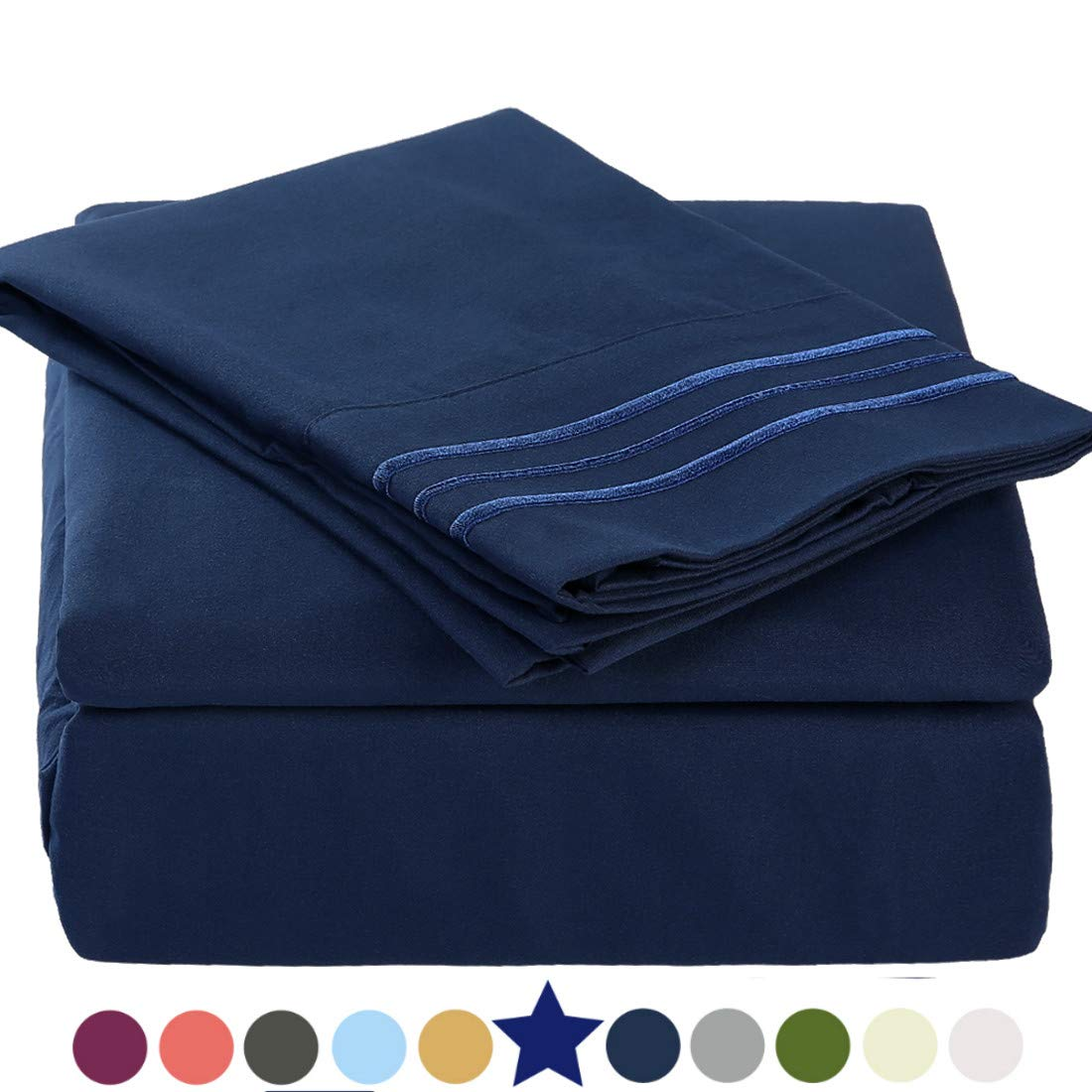"""TEKAMON Premium 3 Piece Bed Sheet Set 1800TC Bedding 100% Microfiber Polyester - Super Soft, Warm, Breathable, Cooling, Wrinkle and Fade Resistant - 10-16"""" Extra Deep Pockets, Twin, Navy Blue"""